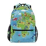 COOSUN Niños Mapa del Mundo Mochila Casual Escuela Mochila bolsa de viaje Multicolor