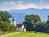 Posterlounge Leinwandbild 130 x 100 cm: Kapelle in Den bayerischen Alpen von Editors Choice - fertiges Wandbild, Bild auf Keilrahmen, Fertigbild auf Echter Leinwand, Leinwanddruck