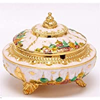 AMITD Vintage Ashtray with Lids,Incense Burner Shape Alloy Material Windproof Dust-proof,Delicate Pattern Home Office Decoration Jewelry Box Coin Jar Small Container,Golden-edge+Castle