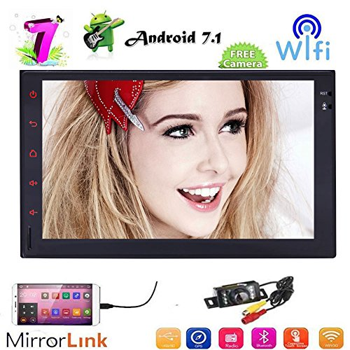 Android 7.1 Auto-Stereo-Radio mit Bluetooth-GPS-Navigation Unterst¨¹tzung FM AM RDS Radio-WiFi 3G 4G Mirrorlink USB SD-Unterst¨¹tzungskamera 7''Capacitive Touchscreen Doppel-DIN + FREE-R¨¹ckfahrkamera