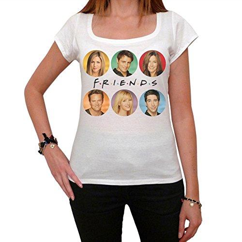 Friends Jennifer Aniston Courteney Cox Matt Leblanc Damen T-shirt - Weiß, S, t shirt damen, Geschenk