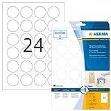 Herma 4236 Verschluss Etiketten Klebepunkte rund (Ø 40 mm, DIN A4 Folie transparent matt) 600 Stück auf 25 Blatt, stark selbstklebend, bedruckbar
