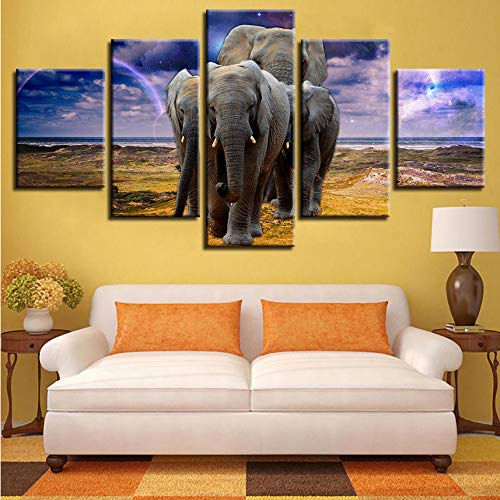 Gwgdjk Lienzo De Pintura 5 Paneles Familia De Elefantes Juntos Arte De...