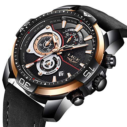 LIGE Mode Herren Uhren Sport Wasserdicht Simulierter Quarz Uhr Großes Zifferblatt Schwarz Leder Strap Armbanduhren