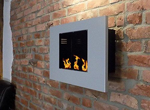 BBT@ / Metall-Gelkamin Midi Silber / Ethanolkamin für Brenngel oder Bio-Ethanol / Echtes Kamin-Feuer ohne Rauch Asche oder Staub / Inklusive Brennstoff-Dosen