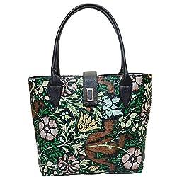 Angel & Rayon Angela Ashlyn Fancy Stylish Elegance Fashion Handbag for Women, Handbag for Ladies and Handbag for Girls (Multicolor, Black)