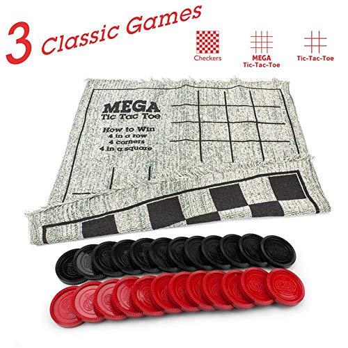 Seasons Shop Checkers Teppich, 3 in 1 Gaming Teppich Incl. Damespiel, Tic Tac Toe und Mega Tic Tac Toe für Multiplayer-Spiel Draußen und Drinnen Spiel high Grade Tremendous