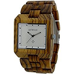 Bewell Watches for Men Zebra Wood Quartz Analogue Casual and Busniess Wood Square Watch Face with Wood Watchband
