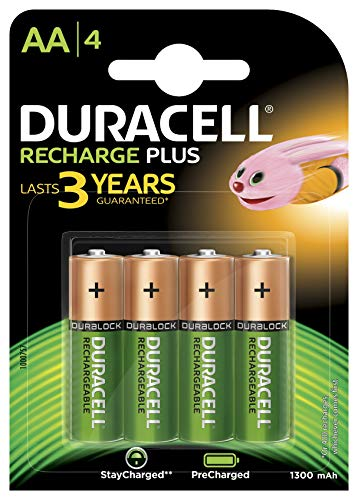 Duracell Recharge Plus AA Batterie Stilo Ricaricabili 1300 mAh, Confezione da 4