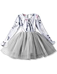 7942f35365454 NNJXD Fille Polka Robe plissée à Volants Multicouches plissée