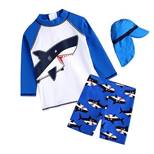 7-Mi Schwimmanzug Kinder,UV-Schutz Einteiler Haiwärmender Badeanzug- 3D Hai Baby/Mädchen/Jungen/Schwimmbekleidung, Himmelblau,  114/122
