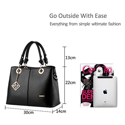 NICOLE&DORIS Nuove donne / Donna Fashion Boutique Top Handle borsa di Crossbody della spalla della borsa del Tote della cartella PU vino rosso Nero