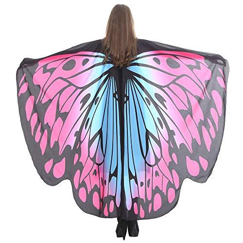 WOZOW Damen Schmetterling Schmetterlingsflügel Kostüm Faschingkostüme Schal Tuch Poncho Umhang für Party Cosplay Karneval Fasching (Heißes Rosa - Superwoman Kostüm Rosa