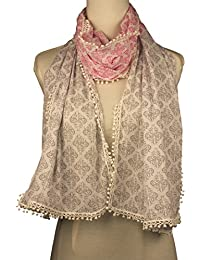Vozaf Women's Cotton Stoles & Scarves - Pink And Grey With Block Print