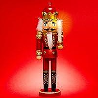 SIKORA Serie C aufwändig gestaltete XL Deko Nussknacker Figur aus Holz - mit LED Kerze und Fernbedienung, Farbe / Modell:C01 rot - KÖNIG;Größe:Höhe ca. 40 cm