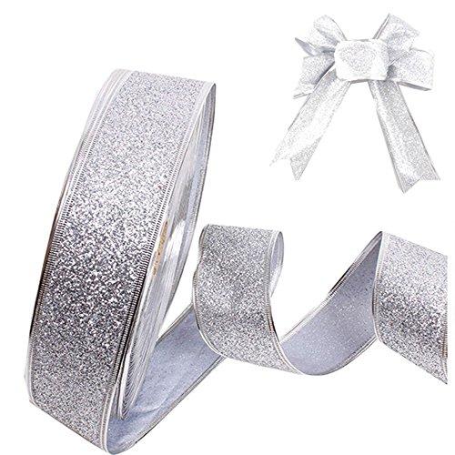 westeng Drahtkante, Glitter Band für Hochzeit Party Weihnachtsbaum Basteln, Geschenkpapier Floristik 2Meter