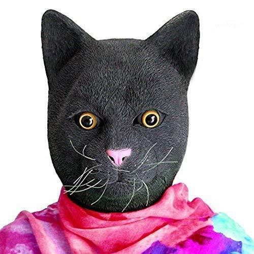 Meme Kostüm Cat - MU Masquerade Deluxe Neuheit Halloween Kostüm Party Latex Tier Black Cat Head Mask,Schwarz