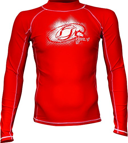 Male Adult Long Sleeve Thermal Lycra Red Rash Vest, Ideal For Swimming, Diving, Kitesurfing and Surfing