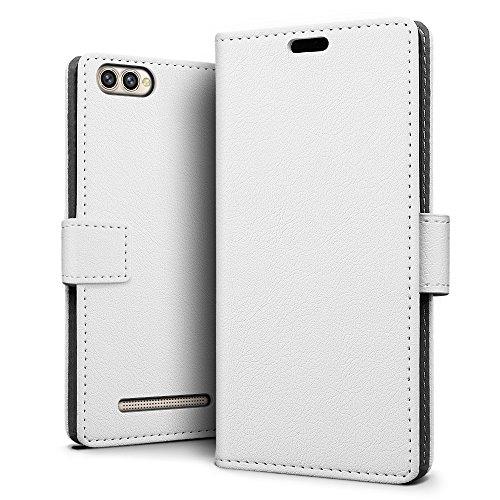 SLEO Doogee X30 Hülle, Leder Case PU Ledertasche Magnet [Vollständigen Schutz] Flip Case mit Standfunktion Kartenfächer im Bookstyle für Doogee X30 - Weiß