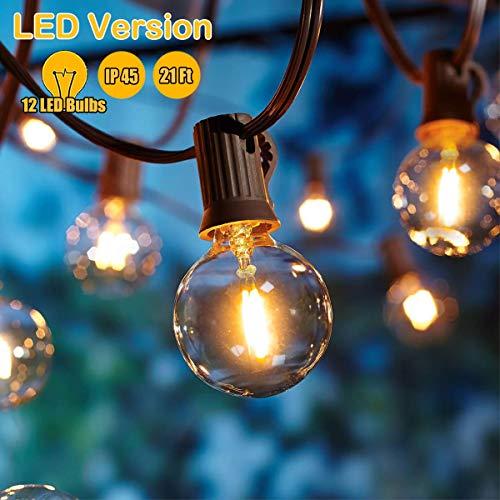 G40 LED-Lichterketten, 21ft wasserdichte Globe-Lichterketten mit 12 G40-LED-Lampen, warmweiß, für den Innen- und Außenbereich geeignet, perfekt für Innenhöfe, Gärten, Häuser, Hochzeiten, Partys (Globe-string-lichter Im Freien)