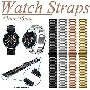 Bracelet de Bracelet en Acier Inoxydable à Trois maillons pour Samsung Galaxy Watch 42/46mm/1.65/1.81