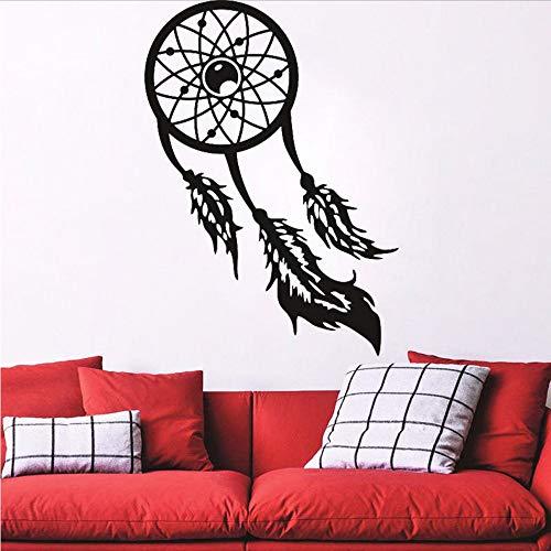 (Waofe Dreamcatcher Wandtattoo Große Dream Catcher Decals Feder Schlafzimmer Dorm Wandkunst Wand Schlafzimmer Wand Dekor 56 * 77Cm)