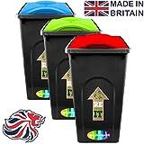 3 x CrazyGadget® 50L 50 Litre Rubbish Plastic Recycle Kitchen Home Garden Outdoor Indoor Waste Bin Dustbin - Red, Blue, Green
