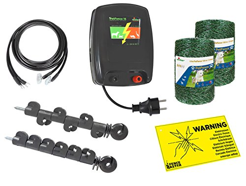 Katzenzaun / Hundezaun Plus-Minus Version - keine Erdung notwendig - Im Komplettset - alles was Sie benötigen - Hunde- oder Katzen - Zaun Elektrischer Pferd