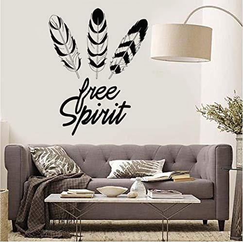 Federn Free Spirit Ethnic Style Vinyl Wandtattoo Wohnkultur Kunstwand Wohnzimmer Entfernbare Wandaufkleber 58 * 74 cm
