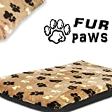 Tapis à motif de pattes Lit pour chien Lit pour animal de compagnie Très épais Imitation fourrure Housses amovibles 6,3cm d'épaisseur