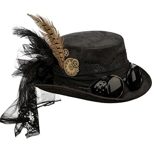 NET TOYS Steampunk Hut Gothic Zylinder schwarz Viktorianische Kopfbedeckung Accessoire Retrofuturismus Zylinderhut Retrolook Punk Kostüm Accessoire