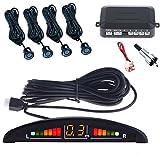 Takestop® KIT SISTEMA de 4 Sensores de Aparcamiento, Color Negro Negro Para Coche CON Pantalla LED de Ruido