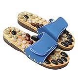 Naturstein Sandalen jnvshop Reflexzonenmassage Holz Fuß Hausschuhe Accupressure Schuhe Massager (43 EU, Black)