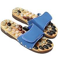 Piedra Natural sandalias jnvshop madera de reflexología masaje de pies Zapatillas zapatos de accupressure (43 EU, Black)