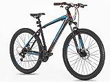 Mountain Bike, Rahmen & Gabel aus Stahl, Federung vorne, Größe 26ans 69,8cm, Greenway, schwarz