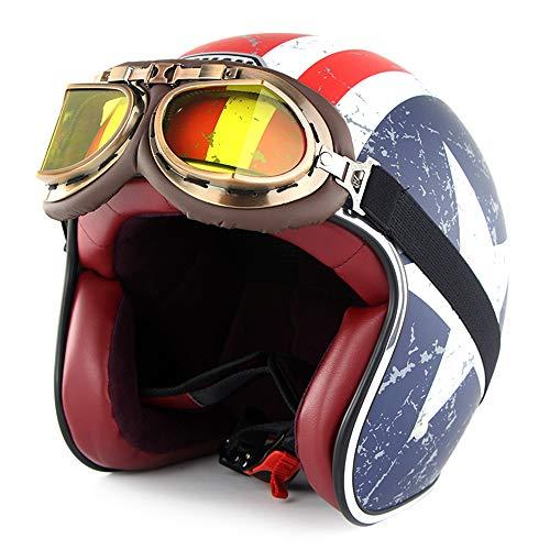 SOMAN Vintage Aperto Faccia Moto Casco DOT Certificazione 3/4 Moto Jet Bobber Chopper Crash Cruiser Casco con Goggle Visiera Parasole (Captain America),XL(60~61cm)
