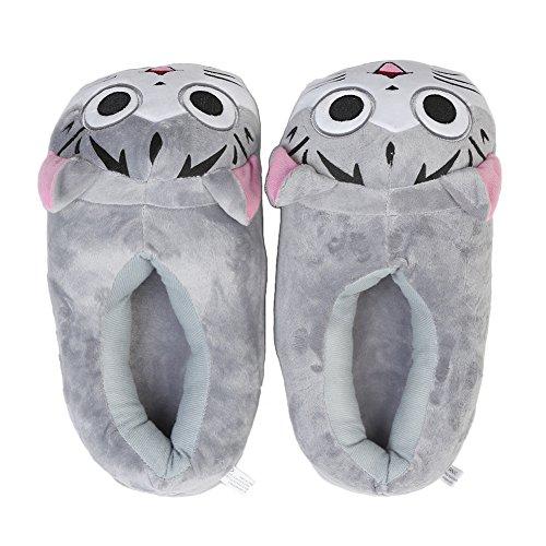 YUMOMO Unisex Herren und Damen nett Cartoon weichem Plüsch warme Pantoffeln schlüpfen 35-42 Katze, grau