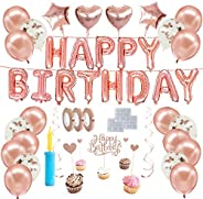 Happy birthday Rose gold theme balloons kit, Birthday decorations set, Helium balloons, party supplies kit, co