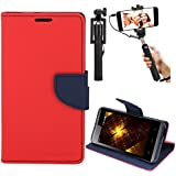DMG Diary PU Leather Flip Cover Wallet Stand Case for Reliance LYF Flame 3 (Red) + Selfie Stick Monopod with Aux (No Battery Needed)