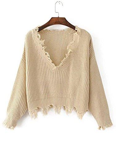 ZAFUL Women's Casual Long Sleeve Loose Knitted Jumper Sweater Pullover Winter Top Outwear(KHAKI)
