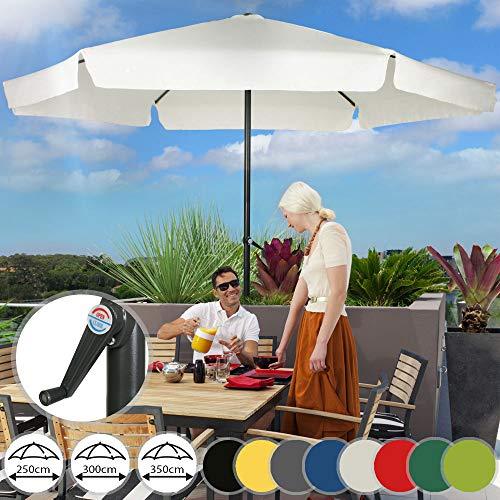 Sonnenschirm in Ø 2,5m / 3m / 3,5m - in Farbwahl, Wasserabweisender Schirmbezug, mit Krempe und Kurbel, aus Stahlrohr - Marktschirm, Gartenschirm, Terrassenschirm, Ampelschirm (Ø 3 m, Beige)