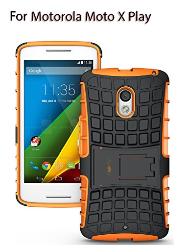 Heartly Flip Kick Stand Spider Hard Dual Rugged Armor Hybrid Bumper Back Case Cover For Motorola Moto X Play - Mobile Orange (Not For Moto X Style)