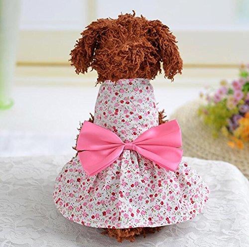 Xinjiener Hundepullover Katzen-Hundekleidung-Land-Art-Blumenkleid-Haustier-Kleidung-Rosa (Land Katze Kostüm)