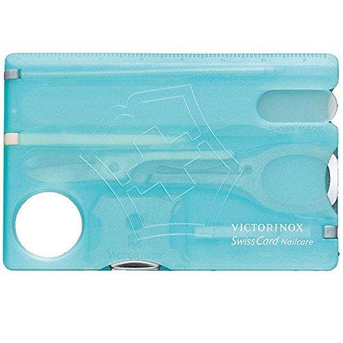 Victorinox Taschenmesser Swiss Card (Nailcare, 13 Funktionen, Nagelfeile, Schere) eisblau transparent
