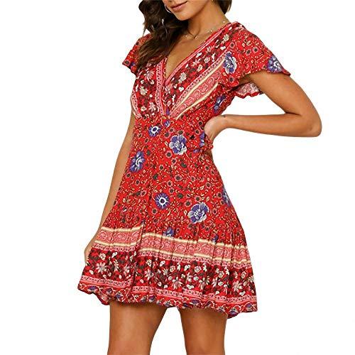 Vestito da Donna Estiva Moda Boho Style Mini Abito Floreale Casual Ruffle Sundress Abiti da Festa da Donna Flower Print Abiti da Donna Abiti da Donna Come Mostra la Foto