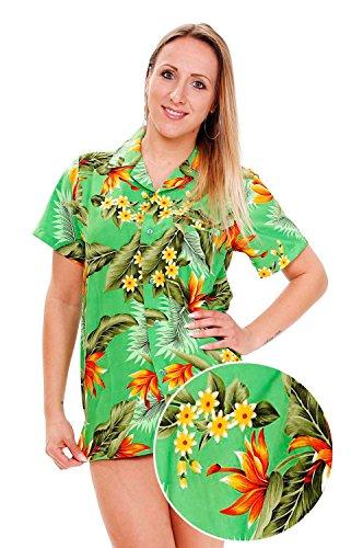 King-kameha-Funky-camisa-de-Hawaii-para-mujer-de-manga-corta-front-pocket-Strelizie-flores-verde-verde-verde-XXL