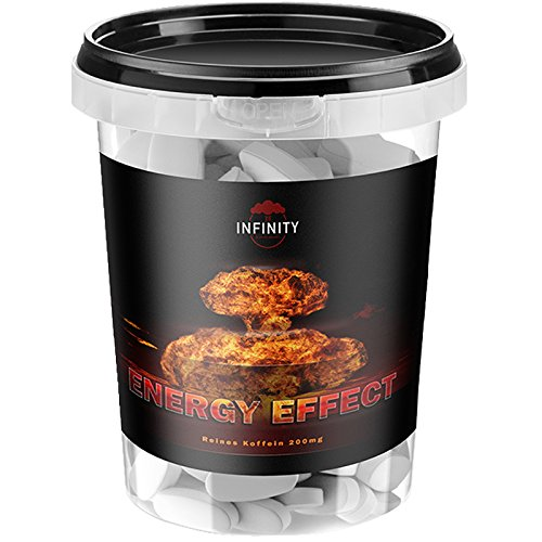 300 Tabletten Energy Effect, Koffein - Hochdosiert + Vegan, Coffein - Caffeine/Fettverbrennung - Fatburner - Ausdauer