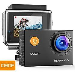 Caméra Sport APEMAN Etanche Embarquée HD 1080P 12MP Action Cam Anti-shake Grand-angle 170° avec Boîtier Etanchet Kit d'accessoires pour Vélo Plongée Natation et des Sports Sous-marin