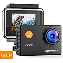 APEMAN Sports Action Camera 1080P HD 12MP Waterproof Cam 170 Ultra Wide-Angle Lens With Mounting Accessories Kit for Cycling Swimming Climbing Diving