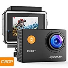 APEMAN 【Upgraded】 Full HD Caméra Sport 1080P, Appareil Photo Caméscope Étanche Plongée 30M avec Grand Angle 170°, Anti-Shake avec Une Batterie améliorée et 26 Kit d'Accessoires